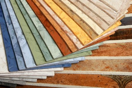 The samples of collection natural linoleum Stock Photo - 7814441