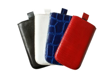 pouch: Mobile phone isolated cases on a white background Stock Photo