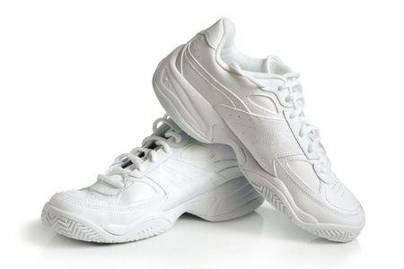 スニーカー: スポーツの靴、白い背景上のペア 写真素材