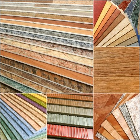 inlaid: The samples of collection natural linoleum Stock Photo