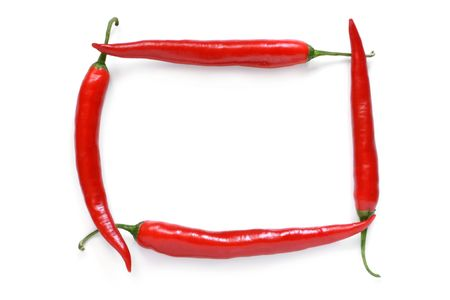 Frame of a red chili pepper on white background photo