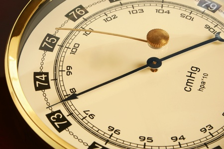 aneroid: Closeup of a barometer, a horizontal picture  Stock Photo