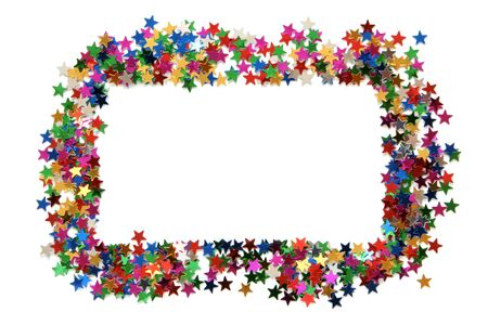 star border: Celebration stars frame on a white background
