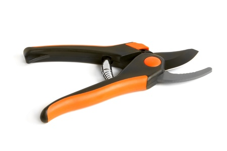 snipping: Open garden pruning shears on a white background