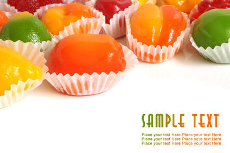 Fruit jelly on a white background photo