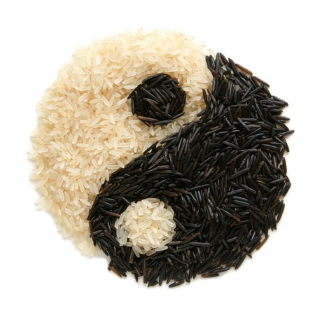 Black and white rise forming a yin yang symbol Stock Photo - 8724994