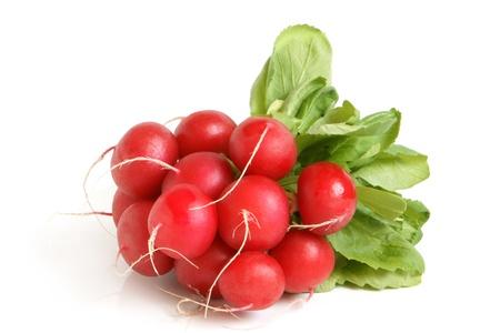 radish: Fresh radishes on a white background Stock Photo