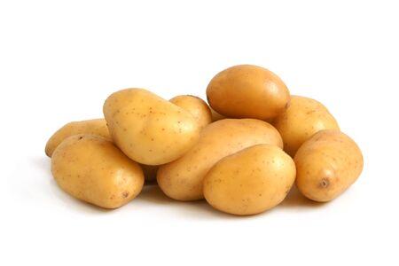 raw gold: Fresh potatoes on a white background Stock Photo