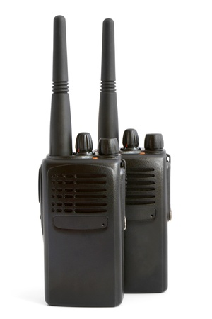 cb phone: Pair of portable radio sets on a white background