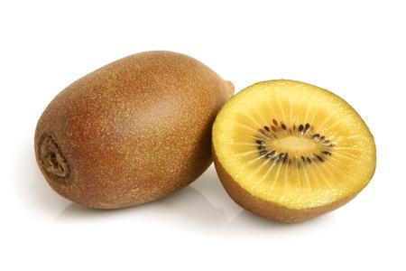 Gold kiwi fruit on a white background