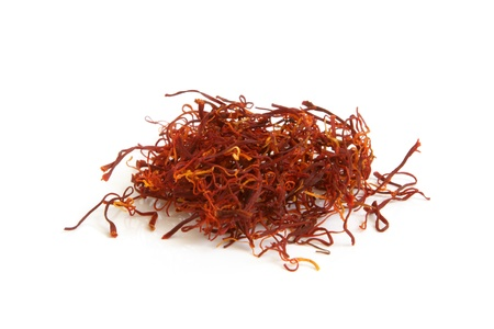 Saffron spice on a white background