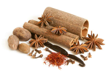 Spice collection on white background Stock Photo - 9361479