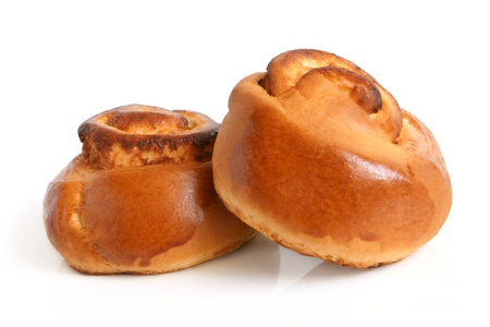 Two small buns on a white background photo