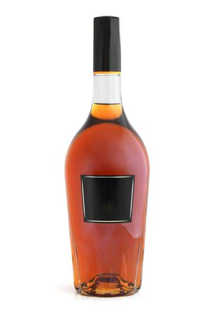 Bottle of cognac (brandy) on a white background photo