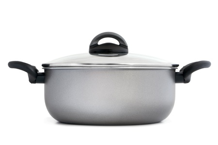 Stainless pan on a white background photo