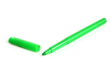 Green marker on a white background photo