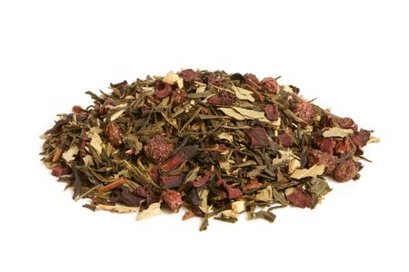 Green tea with dried fruits on a white background photo