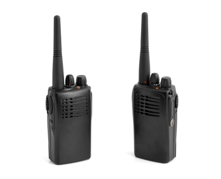 Pair of portable radio sets on a white background photo