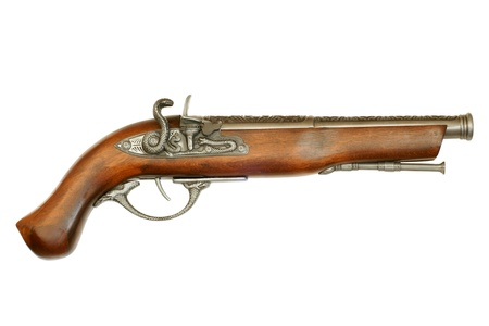 old rifle: Flintlock pistol isolated on white background Stock Photo