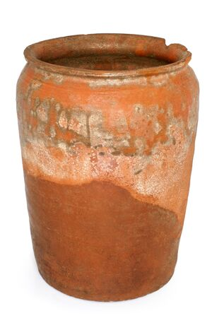 clay pot: Old crock on a white background
