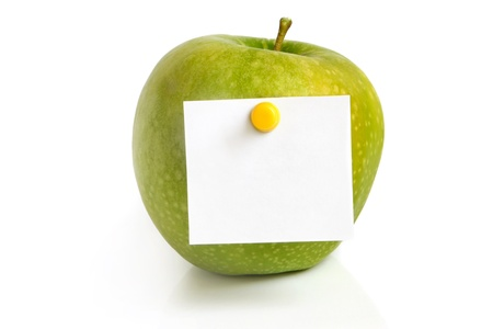 posit: Green apple with blank on a white background