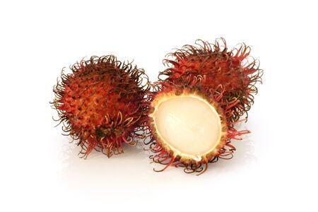 Red rambutan fruit on a white background photo