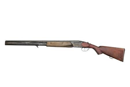 old rifle: Old hunting gun TOZ-34ER, isolated on a white background Stock Photo