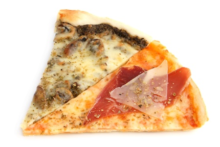Slices of pizza on a white background photo