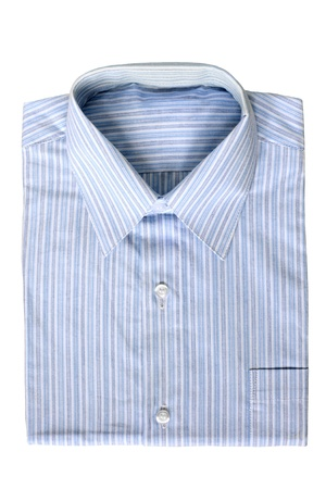mens: Blue pinstriped dress shirt on a white background Stock Photo