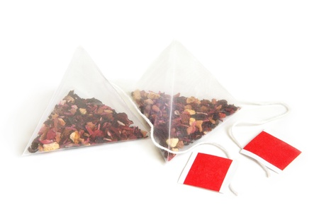 red tea: Tea bags on a white background