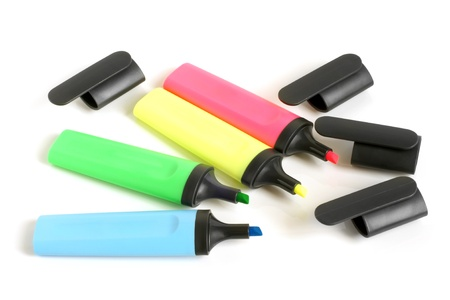 felt tip pen: Colored highlighters on a white background