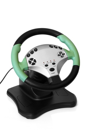 Computer steering wheel on a white background photo