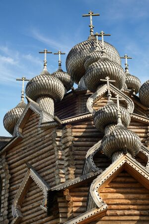 transfiguration: Cupolas of wooden Christ Orthodox church, a vertical picture