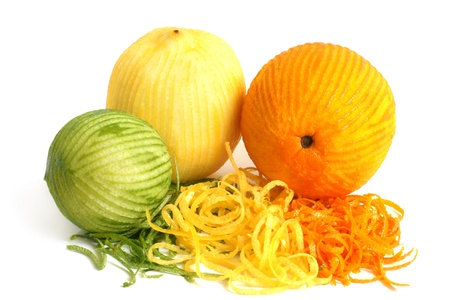 rind: The composition of lemon, lime and orange on a white background
