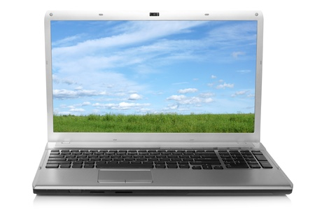 Landscape on notebook screen on a white background photo