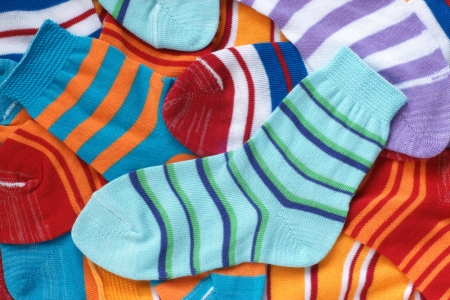 Many pairs of child socks photo