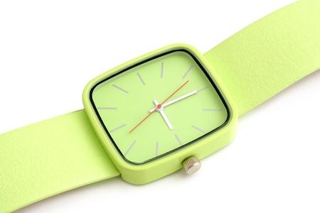 dialplate: Green wristwatch on a white background