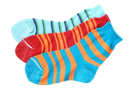 Childs striped socks isolated on a white background photo