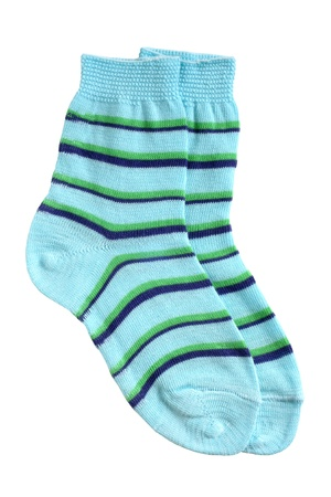 Pair of childs striped socks isolated on a white background photo