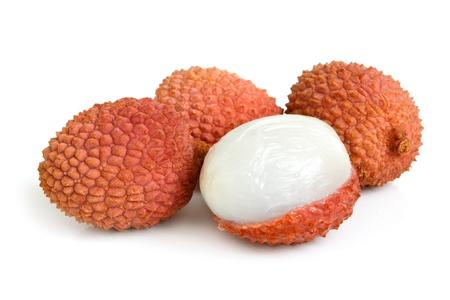 leechee: Fresh lychees on the white background