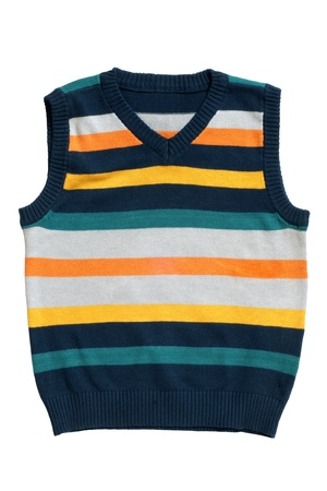 striped vest: Childrens wear - sleeveless pullover isolated on a white background Stock Photo