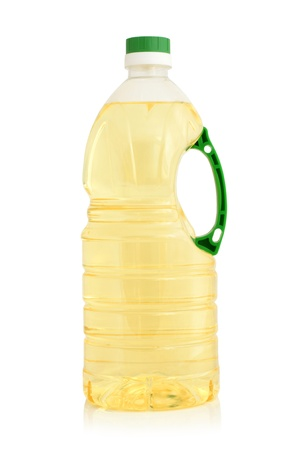 Vegetable oil in plastic bottle on a white background Stock Photo - 11226515