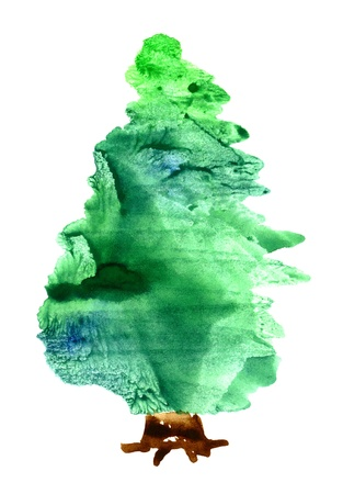 green tone: Watercolor Christmas tree isolated on a white background