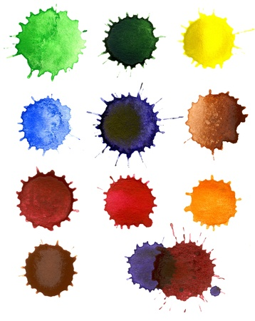 Set of abstract hand drawn watercolor drops photo
