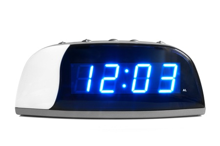 Digital electronic clock on a white background Stock Photo