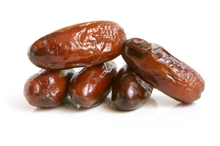 date: Dried dates on a white background