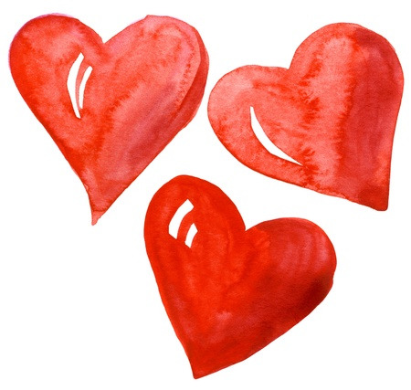 Abstract hand drawn watercolor hearts set isolated on a white background photo