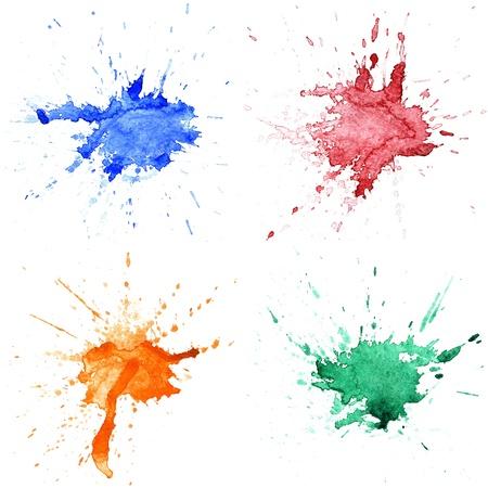 watercolor splash: Set of abstract hand drawn watercolor drops Stock Photo