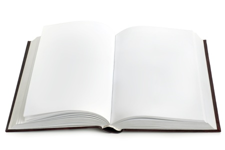 open plan: Opened book with blank pages on a white background