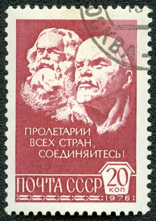 postal card: USSR - CIRCA 1976: A Stamp printed in USSR shows Karl Marx and Vladimir Ilyich Lenin, circa 1976